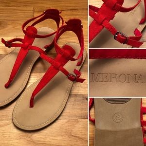 💥 5 FOR $35💥 Red Ankle Strap Buckle Sandals